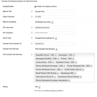 Admin Settings for Canada Post Shipping for WooCommerce